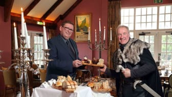 L-R: Norman McBride, General Manager of Ballygally Castle Hotel with William Van der Kells of Winterfell Tours