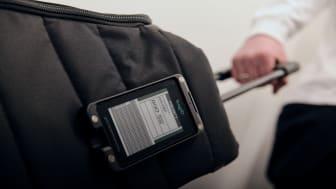 Digital bagasjelapp fra BagID erstatter papirlappene. Foto: BagID.