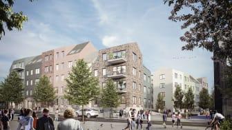 I Bonavas två kvarter närmast Edsbergs allé byggs cirka 150 hyresrätter. Illustration: Bonava Designstudio