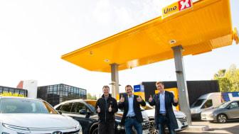 Fra venstre, Roger Hertzenberg i Uno-X, samt Jon André Løkke og Bjørn Simonsen i NEL. Foto: Hyundai/Patchwork