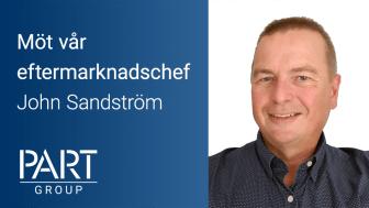PartGroups nya tillskott, John Sandström, börjar som eftermarknadschef i september.