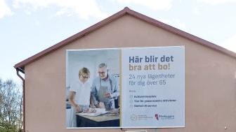 Byggskylten är nu på plats där nya BoBra i Berg ska byggas.