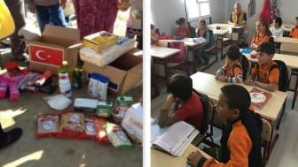 -Matpaket som delas ut. -En skolsal i en av de skolmoduler Lions har leverat.