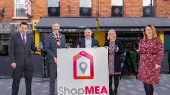Gerard Murray and Neil Richardson, Department for Communities, Mayor Cllr William McCaughey, Lesley McCaughan, Follow Coffee, one of the local businesses offering a special opening deal with the new app, and Emma McCrea, Ballymena BID