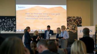 Lena Abrahamsson, LTU, in the middle together with, from the left: Anna Nilsson, Ledarna, Maria Söderberg, Dare Consulting , Martin Eman, Boliden &  Åsa Allan, Kaunis Iron.