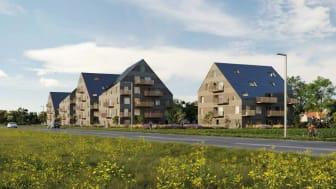Det vinnande förslaget Solsmidd kommer att ligga i Trelleborgs norra entré. Vy från sydväst över Lundavägen. Illustration: Kaminsky Arkitekter
