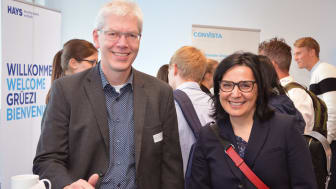 Herr Piekenbrock (Cairo AG) und Frau Prof. Dr. Daglioglu (Präsidentin HdWM) bei der HdWM-Karrieremesse.