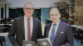 Björn Hellman, vd Livsmedelsföretagen, och Henrik van Rijswijk, förhandlingschef Livsmedelsföretagen