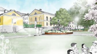 Så här kommer Frödingsparken se ut efter att den byggts om. Bild: Karlstads kommun.