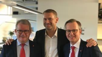 Anders Teljebäck, kommunstyrelsens ordförande Västerås stad, Peter Carlsson, vd Northvolt och Mikael Damberg, innovations- och näringsminister