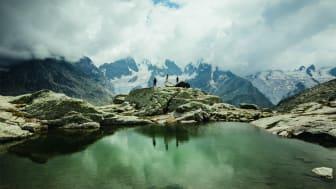 Wanderer auf der Fuorcla Surlej, Graubünden