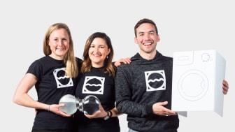 Teamet bakom Mimbly, från vänster Helena Wallenberg, Isabella Palmgren och Daniel Ernesto Colunga Tinajero. Foto: Johanna Herbst