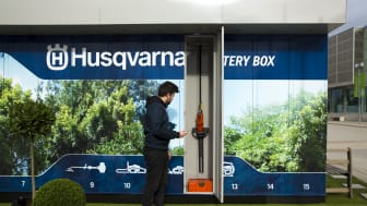 """The Husqvarna Battery Box, is a """"smart"""" unattended container with 30 electronic lockers that store battery powered garden care products available for rent via an app."""