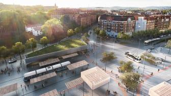 Visualisering av det framtida Korsvägen. Bilden togs fram 2017 av White arkitekter. © Stadsbyggnadskontoret
