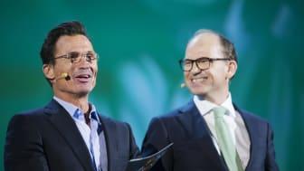 Petter A. Stordalen, grunnlegger av Nordic Choice Hotels, sammen med Torgeir Silseth, administrerende direktør. Foto: Nordic Choice Hotels