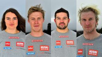 Alexandra Edebo, David Mobärg, Elliot Baralo och Viktor Andersson drar kommande vecka i gång tävlingssäsongen i skicross. Foto: Nisse Schmidt