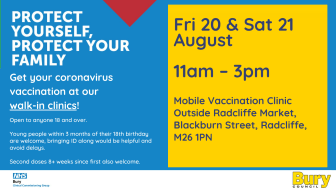 Mobile Covid vax clinics in Radcliffe next week