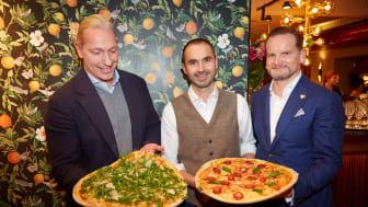 Friedemann Findeis, Arthur Käser und Mirko Silz bei der Eröffnungsfeier der L'Osteria Wiesbaden