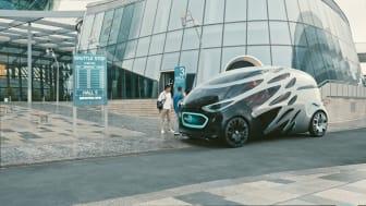 Vision URBANETIC, som Mercedes-Benz nyligen visade, är en helt ny lösning på framtidens transporter av både människor och gods.