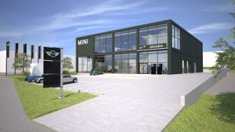 Bavaria bygger MINI Flagship Store i Danderyd; illustrerad.