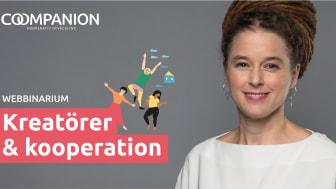 Demokrati- och kulturminister Amanda Lind medverkar i Coompanions webinar Kreatörer & kooperation 26 mars 2021