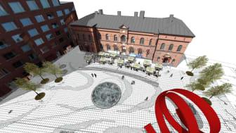 Västra station framför Malmö Live ska renoveras och öppna som restaurang. Illustration: Sydark Konstruera