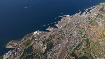 The Port of Helsingborg frome above. Photo: Bertil Hagberg