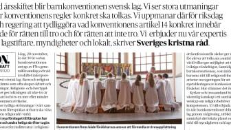 Kyrkoledare inom Sveriges kristna råd skriver om barnkonventionen på DN debatt onsdagen den 20 november.