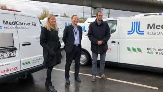 Stockholms klimat- och miljöborgarråd Katarina Luhr, Widriksson Logistiks VD Johan Nyblom och ordförande i riksdagens trafikutskott Jens Holm.