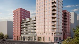 Kvarteret Lysosomen i Hagastaden beräknas stå färdigt för inflyttning våren 2023. Illustration: Studio Superb.