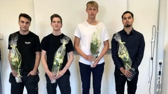 Joel Hedström, Rasmus Willig, David Bergin och John Bajer uppvaktades av gymnasienämnden.