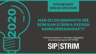 SIP STRIMs Innovationsidétävling - Pitchevent den 10 juni 2020