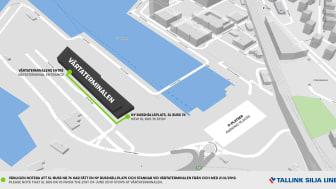 Karta över nya busshållplatsen vid Värtaterminalen