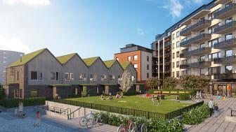Stadskvarterets nya radhus i två plan får sedumtak och tegelfasad. 3D-visualisering: WEC 360