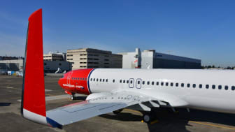 Norwegian's aircraft LN-NGJ at Boeing Field at delivery March 5 2013