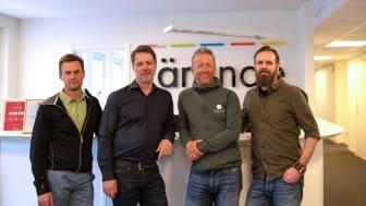 På bilden: Jonas Forsmark, FUN, Jan Vikström, Lärande, Joakim Hermanson och Jeppe Klockaresson, Naturturismföretagen