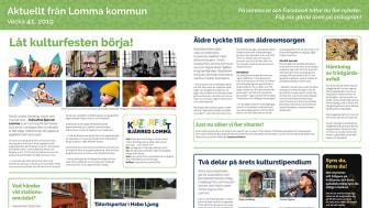 Lomma kommuns annons på mittuppslaget på tidningen Hallå, vecka 41 2019.