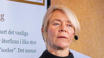 Elisabet Rytter, nutritionsansvarig på Livsmedelsföretagen, på Livsmedelsföretagens pressträff på temat mat och hälsa.