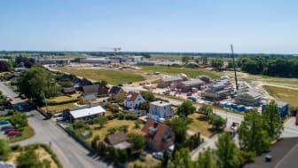 Det nya bostadsområdet som växer upp i Hammar bidrar till rekordsiffrorna, men bostadsbyggen pågår även på många andra håll i kommunen. Foto: Kristianstads kommun