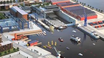 Illustrasjonsbilde av Nyhavna: Kanskje vil uttesting av ny maritim og bærekraftig teknologi i Nyhavna-bassenget bli et vanlig syn i framtidens bybilde i Trondheim?