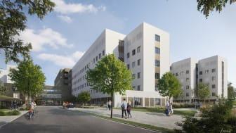 Nytt akutsjukhus Västerås Exteriör Illustration: Link Arkitektur Carlstedt Arkitekter TMRW