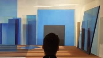 """Mand betragter værket """"Space without a place"""" (2017) af Anette Harboe Flensburg (1961-), Kunstmuseum Brandts, foto: Seismonaut"""