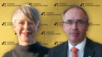 Region Skånes Anna Strömblad, Kommunikationsdirektör, och Alf Jönsson, Regiondirektör, får priset bästa digitala kommunikation.