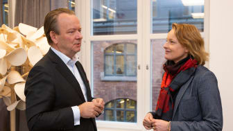 Mikael Lundström, VD på Svefa, och Alexandra Hagen, VD på White Arkitekter (Foto: White)