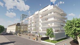 Fastighetsbolaget Lomma Tegelfabriks visionsbild över Hotel Carlshamn med spaanläggning på övre plan. Illustration: Jonas Lloyd