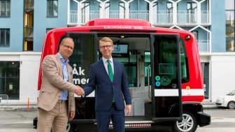 Järfälla är den kommun i Sverige som förbättrat sitt arbete med hållbara transporter allra mest under 2017. Pressbild från Järfälla kommun: Världens mest moderna stadstrafik presenterades i Barkarbystaden.