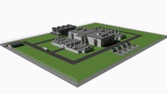 Illustration: Blykallas brittiska kärnkraftverksdesign består av fyra reaktorenheter och kommer att kunna producera 220 megawatt elektricitet under 25 kalenderår med hjälp av en enda laddning bränsle. Copyright Blykalla Reaktorer