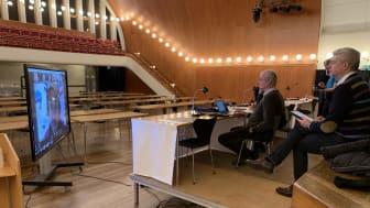 Presidiet testar tekniken inför premiären av Eslövs digitala fullmäktige den 14 december.