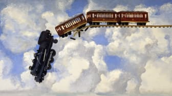"Peter Dahl ""Tåg i himlen"", olja på duk, 126 x 174 cm. 1998."