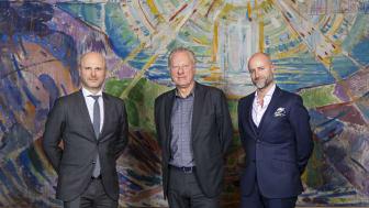F.v.: André Schreiner (direktør Clarion Hotel The Hub) Stein Olav Henrichsen (direktør ved Munchmuseet) og Robert Holan (direktør Clarion Hotel Oslo)